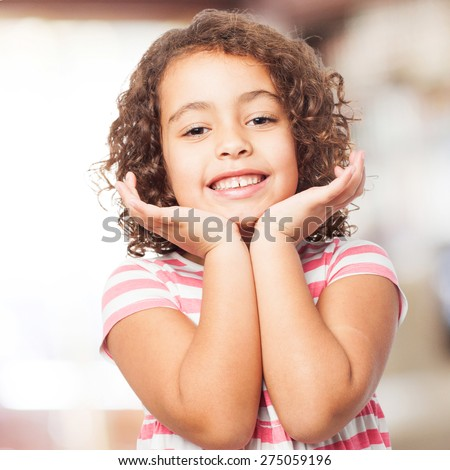 black pleased girl - stock photo