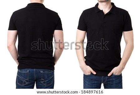 Black polo shirt with on a young man on a white background  - stock photo
