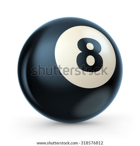 Black pool game ball with number 8. 3D illustration isolated on white background - stock photo