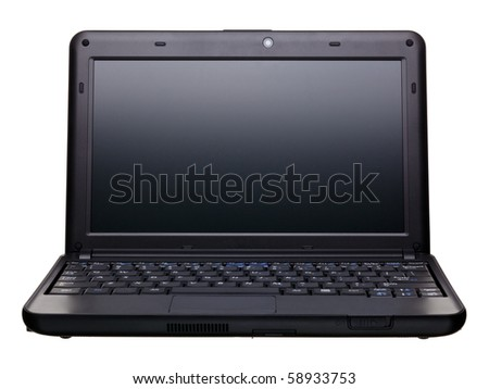 Black portable computer. Isolated on white background - Front view. - stock photo