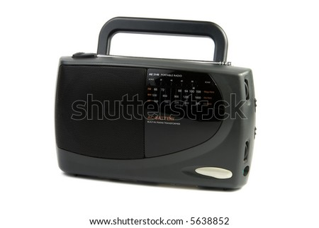 Black portable radio receiver isolated over white background - stock photo