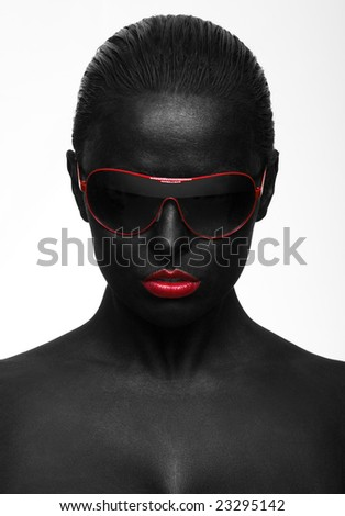 black portrait with red sunglasses - stock photo