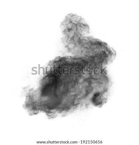 Black powder explosion isolated on white background - stock photo
