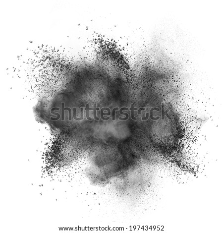 Black powder explosion isolated on white background - stock photo