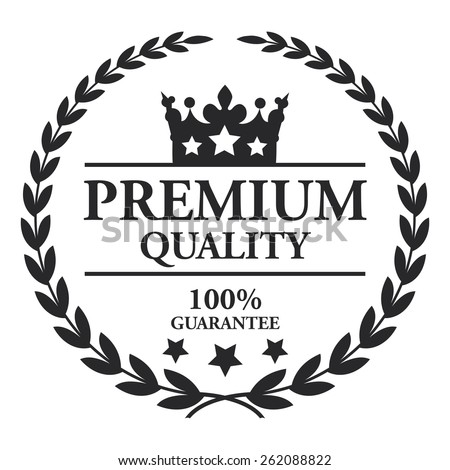 Black Premium Quality 100% Guarantee Wheat Laurel Wreath, Ribbon, Label, Sticker or Icon Isolated on White Background - stock photo