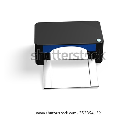 Black printer, front view, isolated on white background. - stock photo