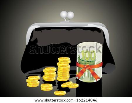Black purse with money - stock photo