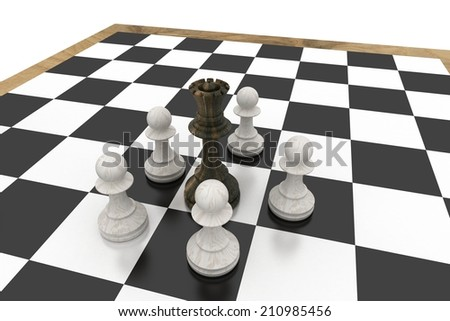 Black queen surrounded by white pawns on white background