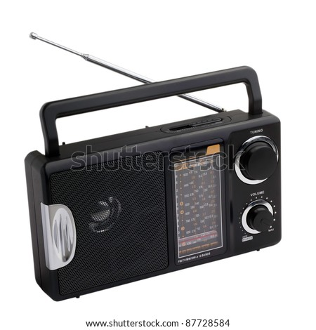 black radio isolated on white background - stock photo