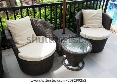 black Rattan armchair  - stock photo