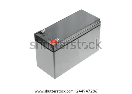 Black rechargeable battery isolated on white background - stock photo