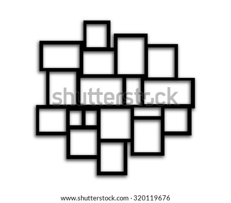 Black Rectangular frames on white background with shadows - stock photo
