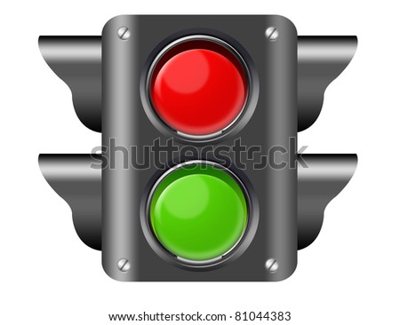 black, red and green pedestrian ligt isolated over white background