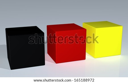 Black, red and yellow  cubes/Black, red, golden/cubes