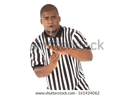 black referee calling time out or technical - stock photo
