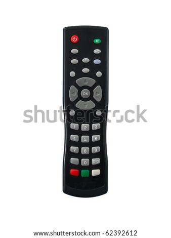 black remote control and white background - stock photo