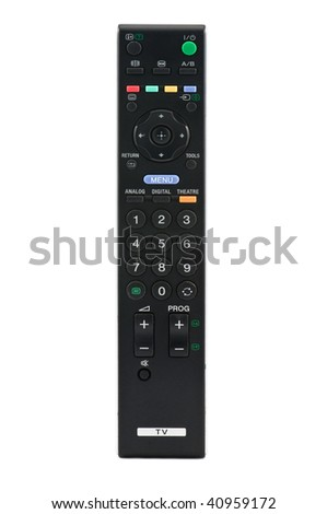 black remote control isolated on white