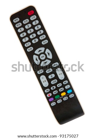 Black remote control on white - stock photo