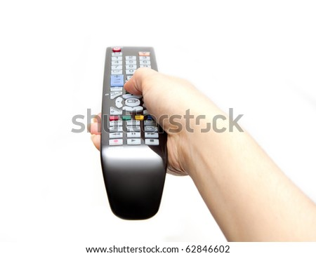 black remote controller in hand isolated on white background - stock photo