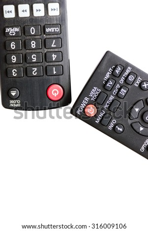 Black remote on a white background .