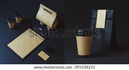 black restaurant identity. 3d render - stock photo