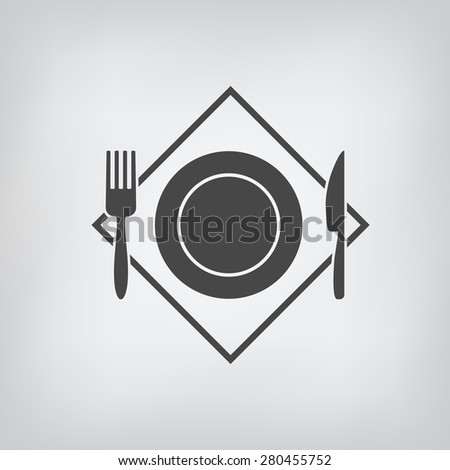 Black restaurant menu icon plate with cutlery fork, knife isolated. Rasterized version. - stock photo