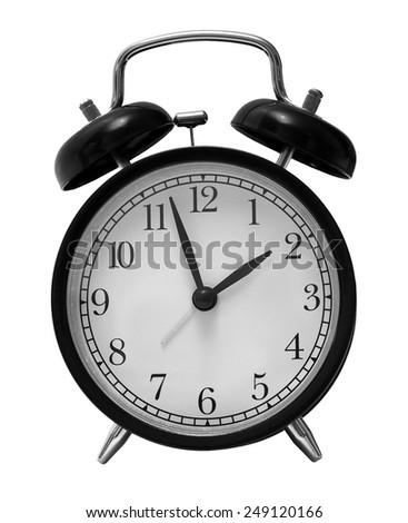 black retro alarm clock isolated on white