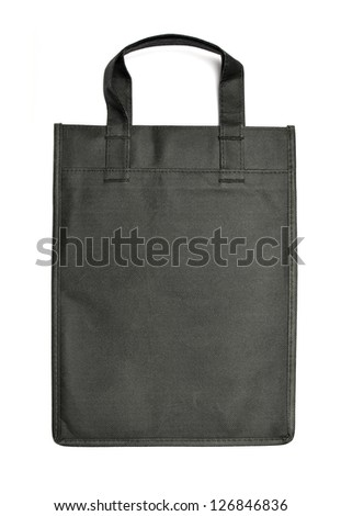 Black reusable bag on white background - stock photo