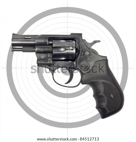 Black revolver and target isolated on white background - stock photo