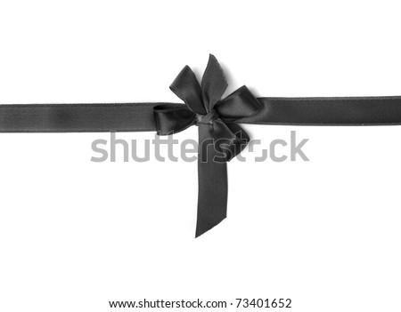 black ribbon bow isolated on white background - stock photo