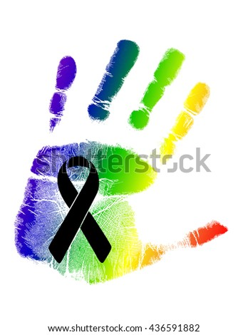 black ribbon over a pride rainbow flag hand print. illustration design graphic - stock photo