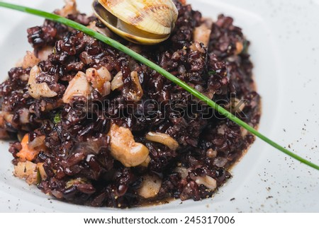 Black rice with chicken meat ans seafood - stock photo