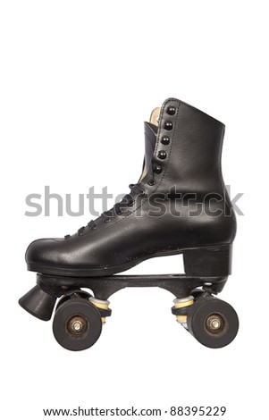 Black roller skate with high heel and little dirt isolated on white - stock photo
