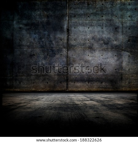 Black room.  Dark concrete wall and floor.  - stock photo