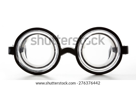 Black Round Bottle Glasses Isolated on White Background