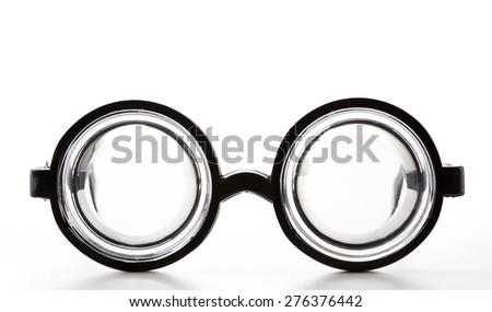 Black Round Bottle Glasses Isolated on White Background - stock photo
