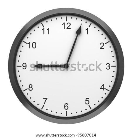 black round wall clock isolated on white background - stock photo