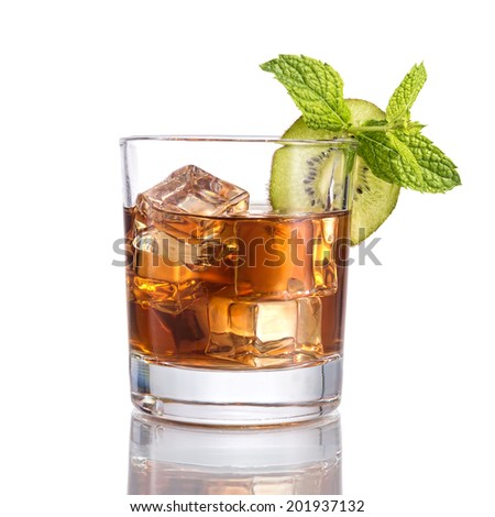 Black russian cocktails, isolated on white