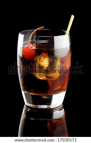 Black russian isolated on a black background - stock photo