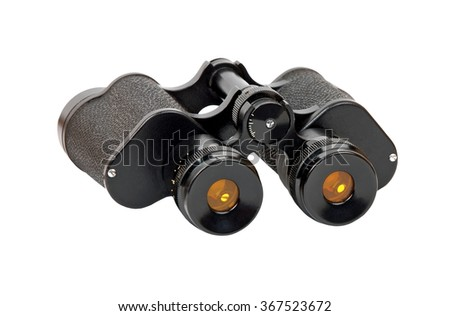 Black russian military binocular, with white background - stock photo