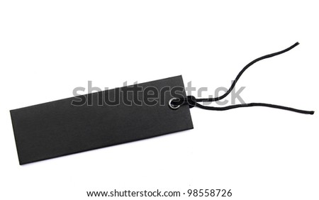 black sales tag with cord over white - stock photo