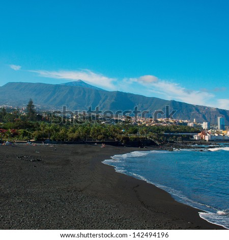 black sand of playa Jardin,Puerto de la Cruz, Tenerife, Spain - stock photo