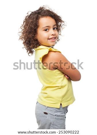 black satisfied girl - stock photo