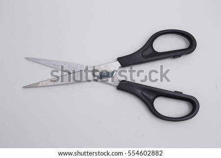 Black Scissors isolated on top view