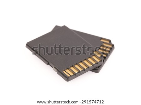 Black SD memory card isolated on white background - stock photo