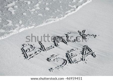 Black Sea written on the sand - stock photo