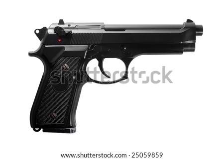 Black semi automatic handgun isolated on white background - stock photo