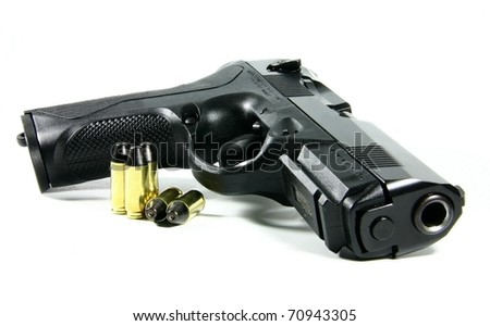 Black semi automatic handgun isolated on white background - stock photo