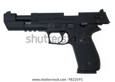 black semi automatic handgun isolated on white, slide open - stock photo