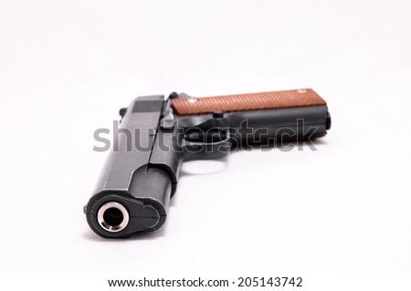 Black semi automatic Handgun on white background - stock photo